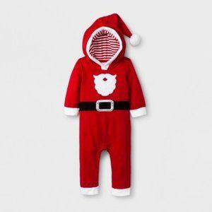 Cat & Jack™ Red Baby Boys Santa Suit Hooded Romper